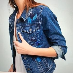 Anthropologie Embroidered Jean Jacket